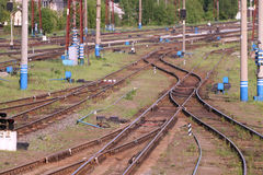 Railways with wooden sleepers, poles, grass and turnouts Royalty Free Stock Image