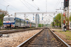 Railways of the Zagreb Main Station - Croatia. Buildings in the Royalty Free Stock Images