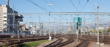 Railways of the Zurich Main Station Stock Photography