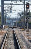 Railways at enllac station near inca in mallorca royalty free stock images