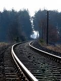 Railwaytrack. Throug a forest royalty free stock image