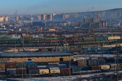 RailwChita, Russia - February 6, 2018: freight trains on a Russian railway station, Railway goods station in the russian city, royalty free stock photos