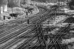 Railyard,. Branched yard in a small railway station Royalty Free Stock Photography