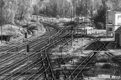 Railyard,. Branched yard in a small railway station Royalty Free Stock Photo
