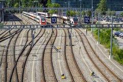 Railyard em Genebra fotografia de stock royalty free