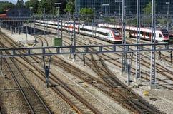 Railyard em Genebra imagens de stock royalty free