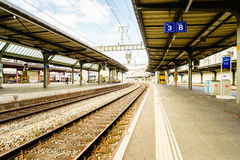 Railyard em Suíça - HDR Imagem de Stock Royalty Free