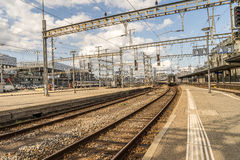 Railyard en Suisse - HDR Photo stock