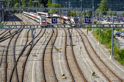 Railyard in Geneva Royalty Free Stock Photography