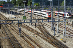 Railyard in Geneva Royalty Free Stock Images