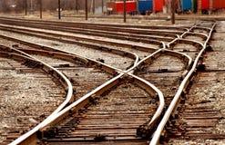 Railyard Switch series. Set of switches defining yard sidings Stock Photo