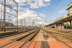 Railyard in Switzerland - HDR. Railyard in Geneve-Cornavin railway station, is the main railway station of the Canton of Geneva, seen passing 115, 000 passengers Royalty Free Stock Photos