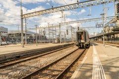 Railyard in Switzerland - HDR. Railyard in Geneve-Cornavin railway station, is the main railway station of the Canton of Geneva, seen passing 115, 000 passengers Stock Images