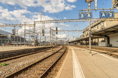 Railyard in Switzerland - HDR. Railyard in Geneve-Cornavin railway station, is the main railway station of the Canton of Geneva, seen passing 115, 000 passengers Stock Photo