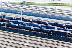 Railyard Tankers Tracks Transport. Rail-yard tracks with tankers transporting trailers carrying liquids at Durban Harbor terminal South Africa Royalty Free Stock Photo