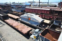 Railyard. Top view over various cargo holders at a railway yard Stock Photography
