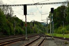 Railyard with traffic lights. Czech republic Stock Photos