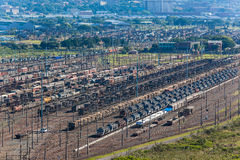 Railyard Trains Trailers Cargo Economy  Royalty Free Stock Image