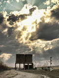 Railyard. Urban railyard with clouds and sunrays Stock Photography