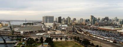 Railyards atraca el puerto de San Diego Califonia Downtown City Skylin Fotos de archivo libres de regalías