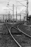 Railyards - noir et blanc image libre de droits