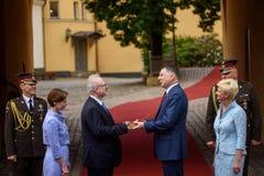 Raimonds Vejonis R giving  Symbolic handover of the keys of the Riga Castle  to Egils Levits L Newly Elected Presid. RIGA, LATVIA. 8th of July 2019. Symbolic royalty free stock photo