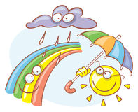 Rain. Vector illustration of rain cloud, sun with umbrella and rainbow Royalty Free Stock Image