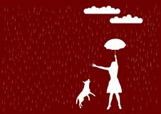 Rain. Girl and dog in the rain Royalty Free Stock Photography