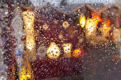 Rain. Beautiful close up drops on the glass Royalty Free Stock Photo