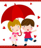 In the rain. Boy and girl in the rain Royalty Free Stock Photos