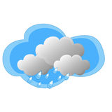 Rain. Image with the rain coming from the gray clouds on a white background Royalty Free Stock Image