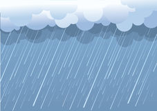Rain. Vector image with dark clouds in wet day stock illustration