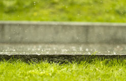 Rain. Drops on concrete ground with grass at foreground Royalty Free Stock Photography
