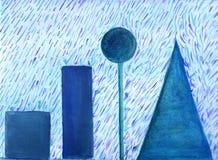 Rain. Abstract acrylic painting of rain raining on geometrical shapes Stock Images