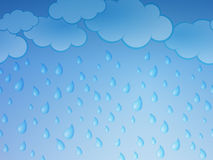 Rain. Graphic illustration of rain drops and clouds stock illustration