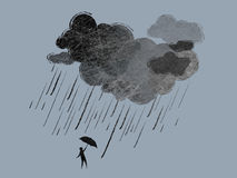 Rain. Illustration of rainy clouds and a man with umbrella royalty free illustration