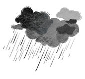 Rain. Illustration of black rainy clouds isolated Royalty Free Stock Photos