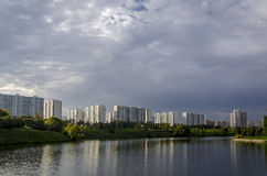 After rain. Lake after rain in Moscow Royalty Free Stock Photo
