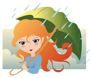 Rain. The girl under a umbrella. There is a rain Stock Images