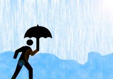 In the Rain. A cartoon man shielding himself from the rain Stock Image