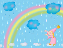 Rain. Little fairy,rain and rainbow Stock Image