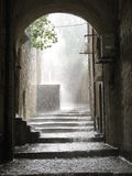 Rain. Strong rain in an old city stock photo