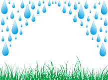 Rain. Detail of rain water drops with grass designed by illustrator Stock Photos
