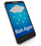 Rain Again On Mobile Shows Wet  Miserable Weather Royalty Free Stock Photos