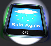 Rain Again On Phone Displays Wet  Miserable Weather Royalty Free Stock Images