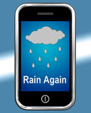 Rain Again On Phone Shows Wet  Miserable Weather Royalty Free Stock Photo