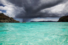 Rain approaching tropical beach Royalty Free Stock Images