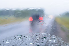 Rain in the automotive glass Royalty Free Stock Image