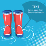 Rain background.Red rubber boots with umbrella Royalty Free Stock Image