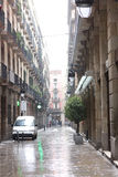 Rain in Barcelona Stock Photography